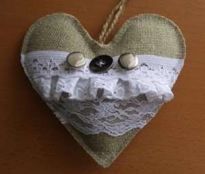 burlap heart garland