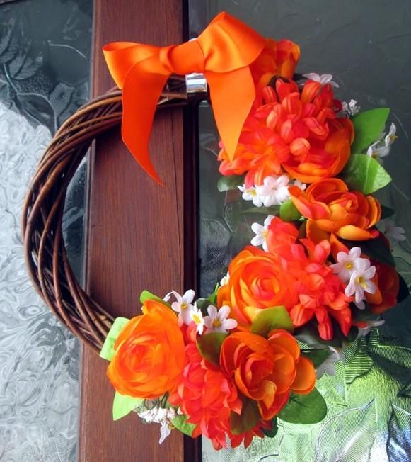 summer door wreath burlap and lace tied wreath