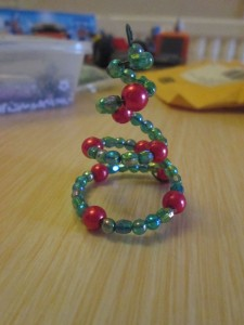 spiral tree wire and bead decoration