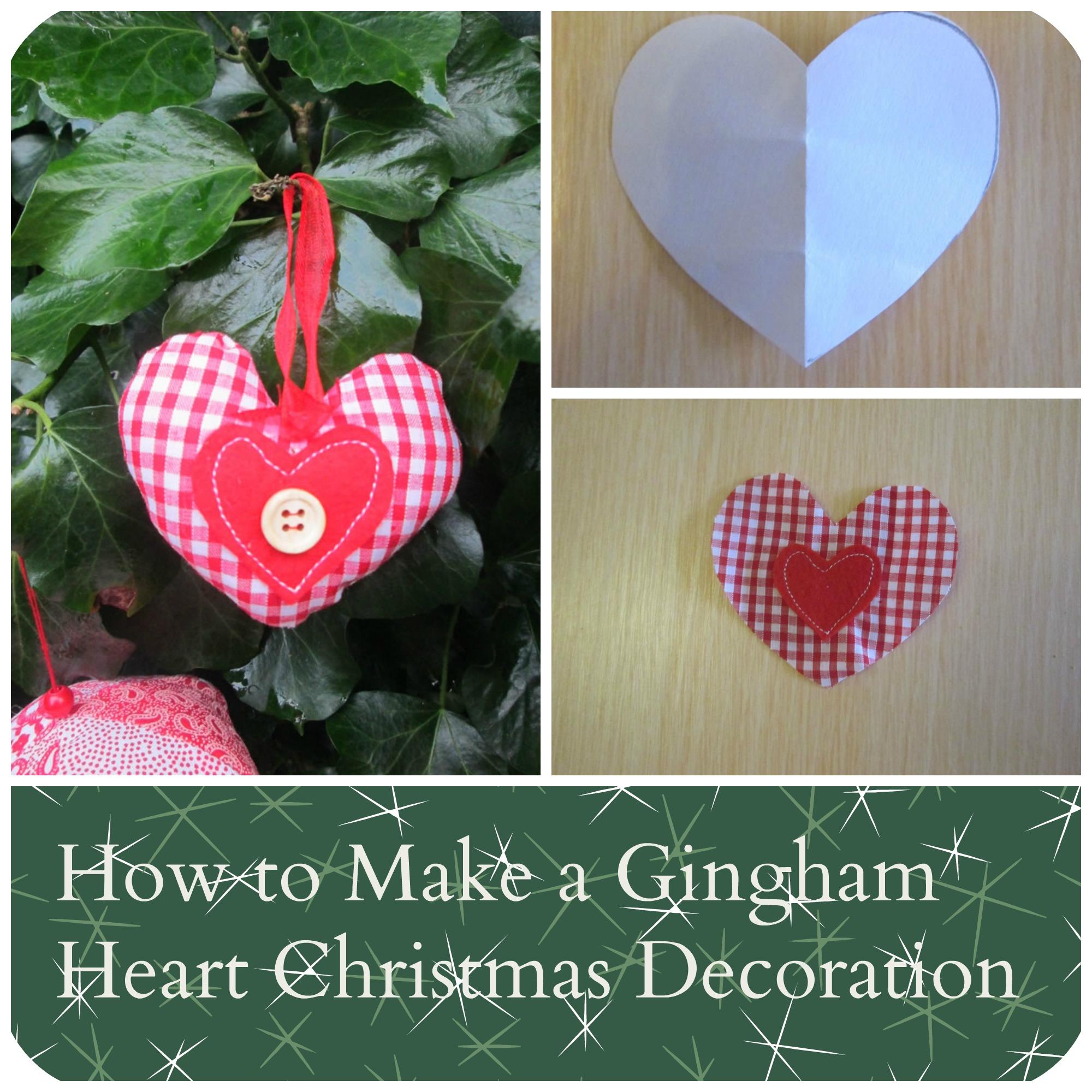 gingham heart fabric Christmas decoration