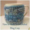 Collage crocheted mug cosy