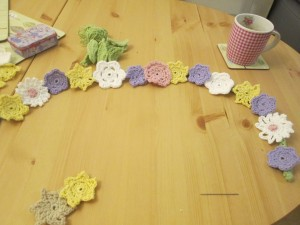 crocheted flower garland