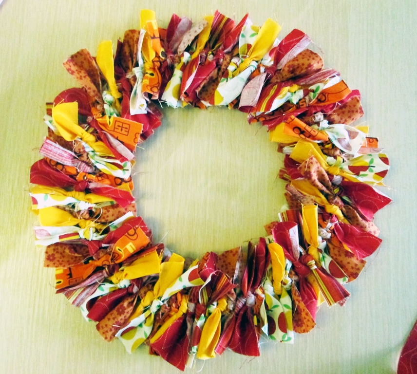 autumn tied wreath no sew