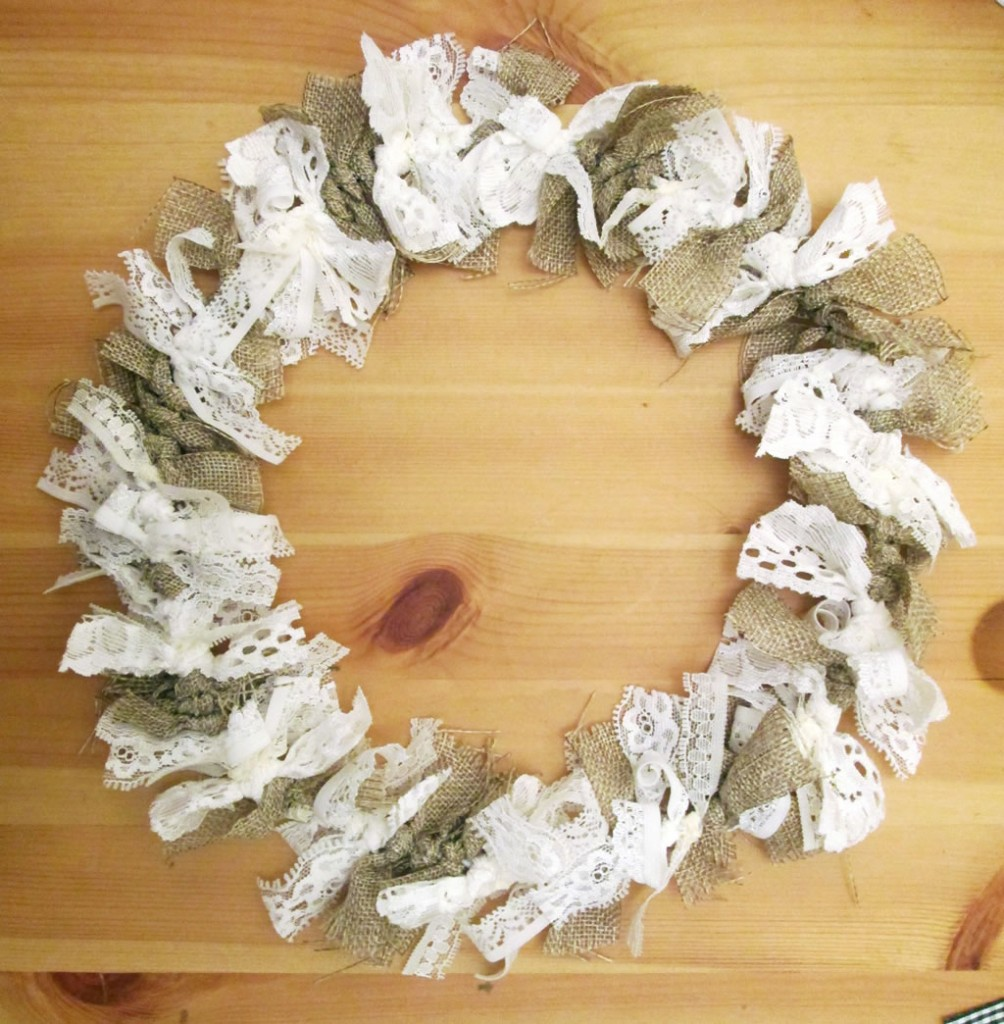 burlap and lace wreath tied wreath