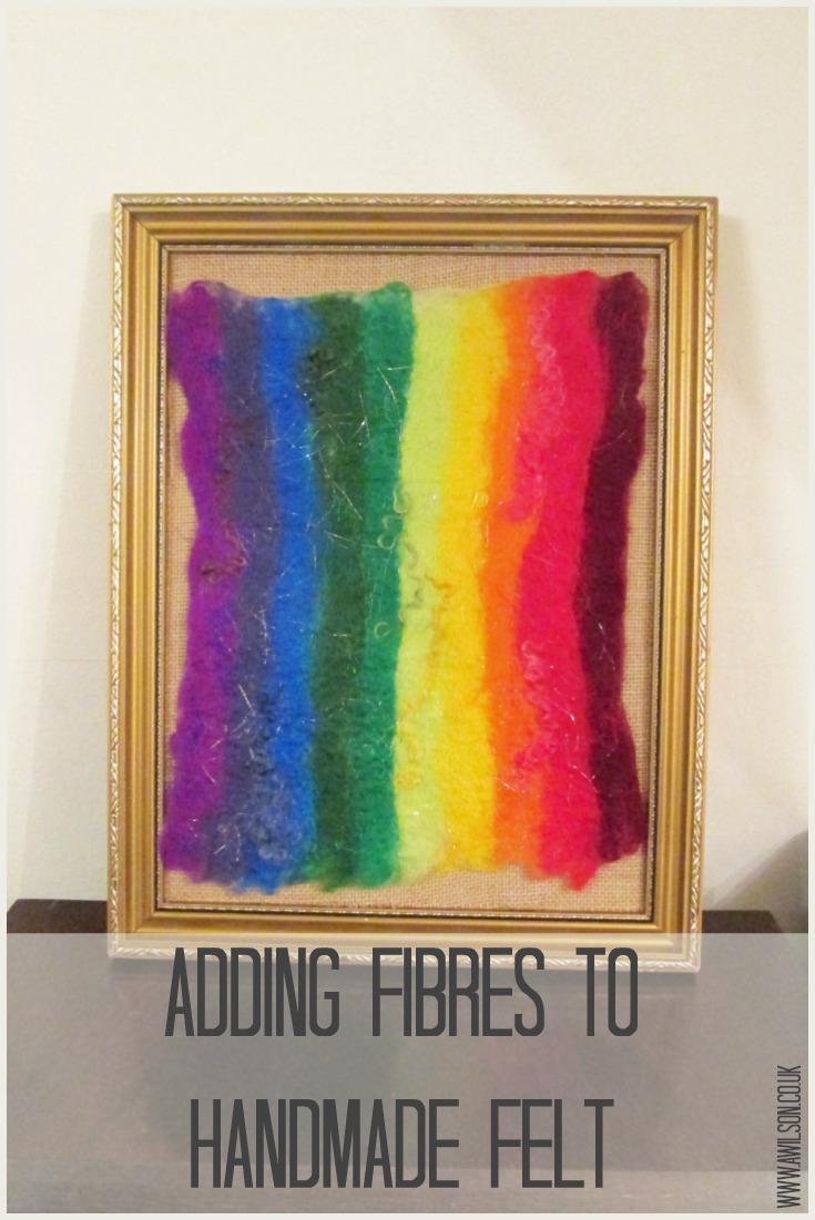 adding fibres to handmade felt