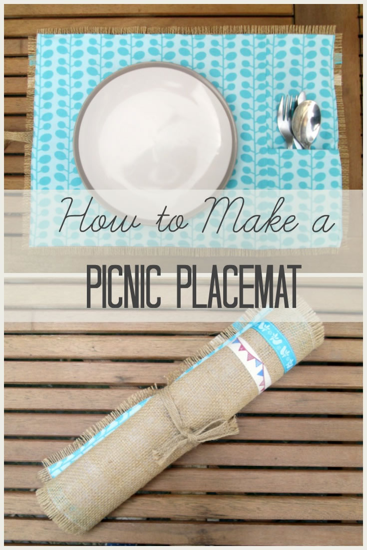 how to make a burlap picnic placemat