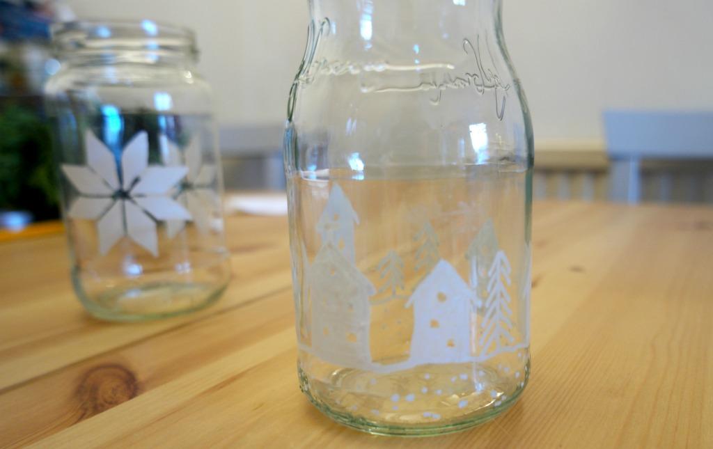 DIY decorated glass jars chalkola chalk pens chalk markers