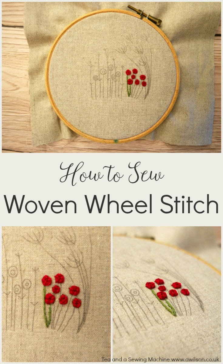 how to sew woven wheel stitch