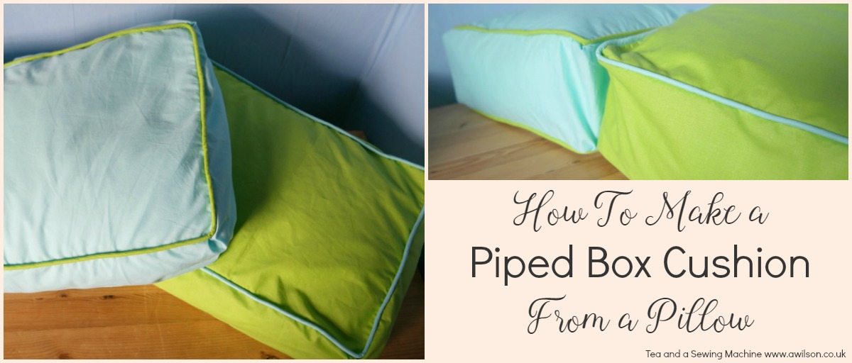 how to make a pillow into a box cushion with piping