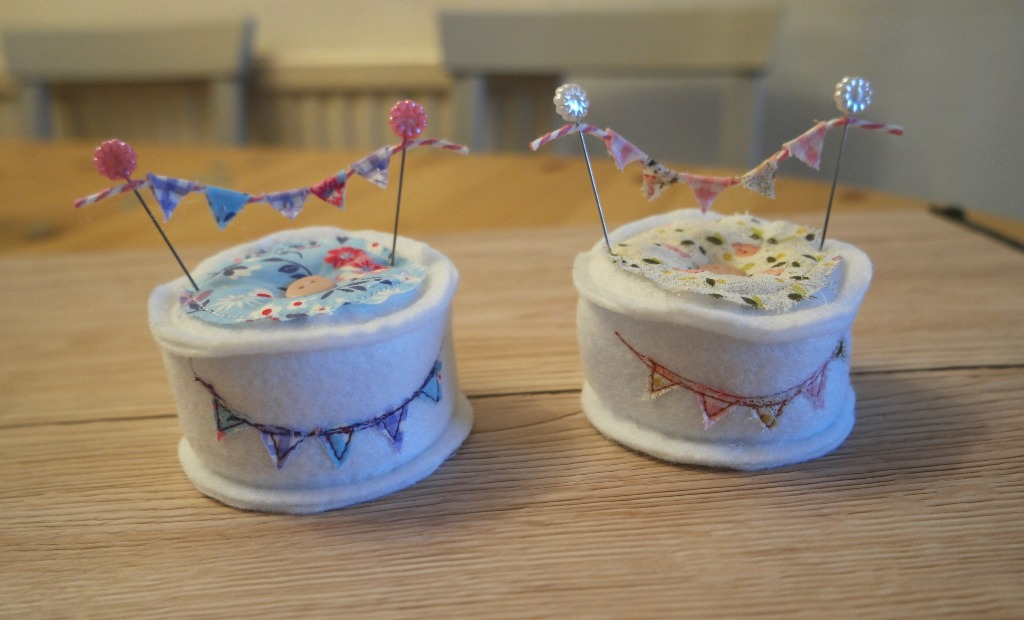 year of bunting pincushion tutorial with mini bunting bunting for a card or a cake