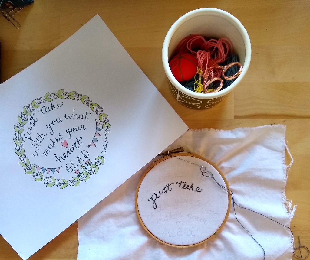 hand lettering for embroidery