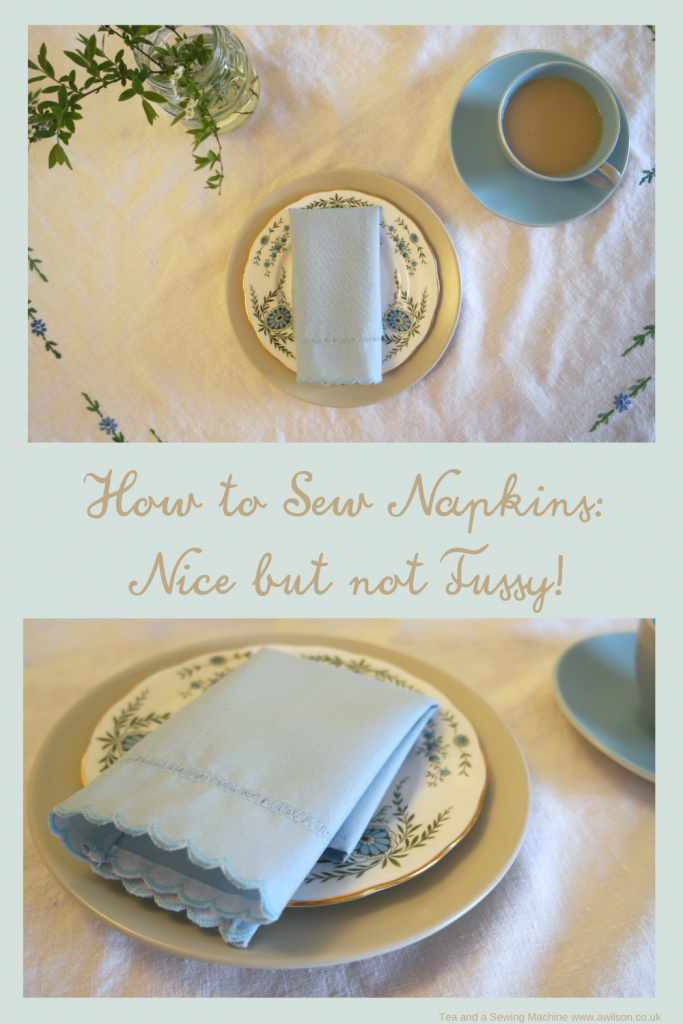 how to sew napkins long image