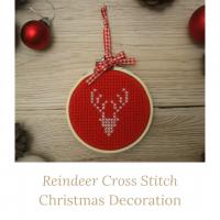 reindeer cross stitch christmas decoration